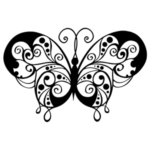 Silhouette cliparts of . Flourish clipart butterfly