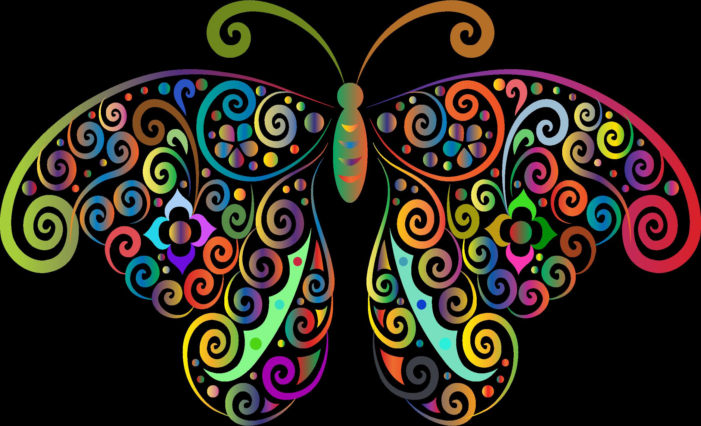 Flourish clipart butterfly. Prismatic floral silhouette no