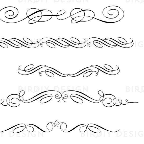 Flourishes clipart calligraphy. Vintage scrolls and