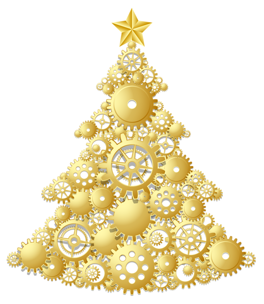 Steampunk clipart church. Gold christmas tree png