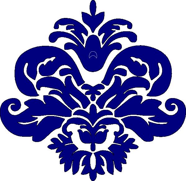 Blue damask clip art. Navy clipart stencil