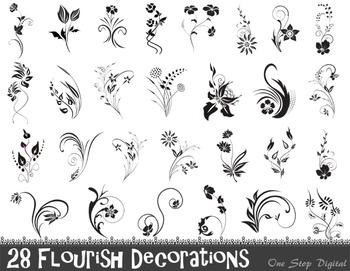 Flourish clipart decorative. Digital decorations flowers clip