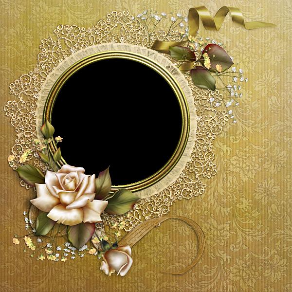 Flourish clipart elegant flower. Gold round frame with