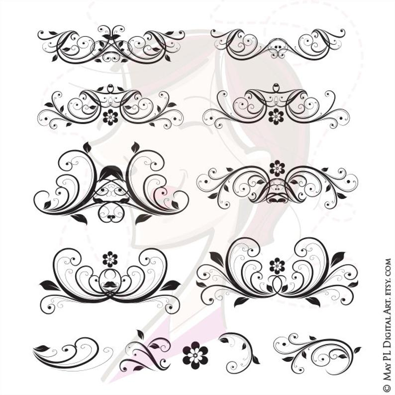 Vector digital swirl decorative. Flourish clipart elegant flower