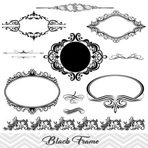 Black frame border swirl. Flourish clipart embellishment