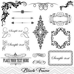 Flourish clipart embellishment. Black frame border gold