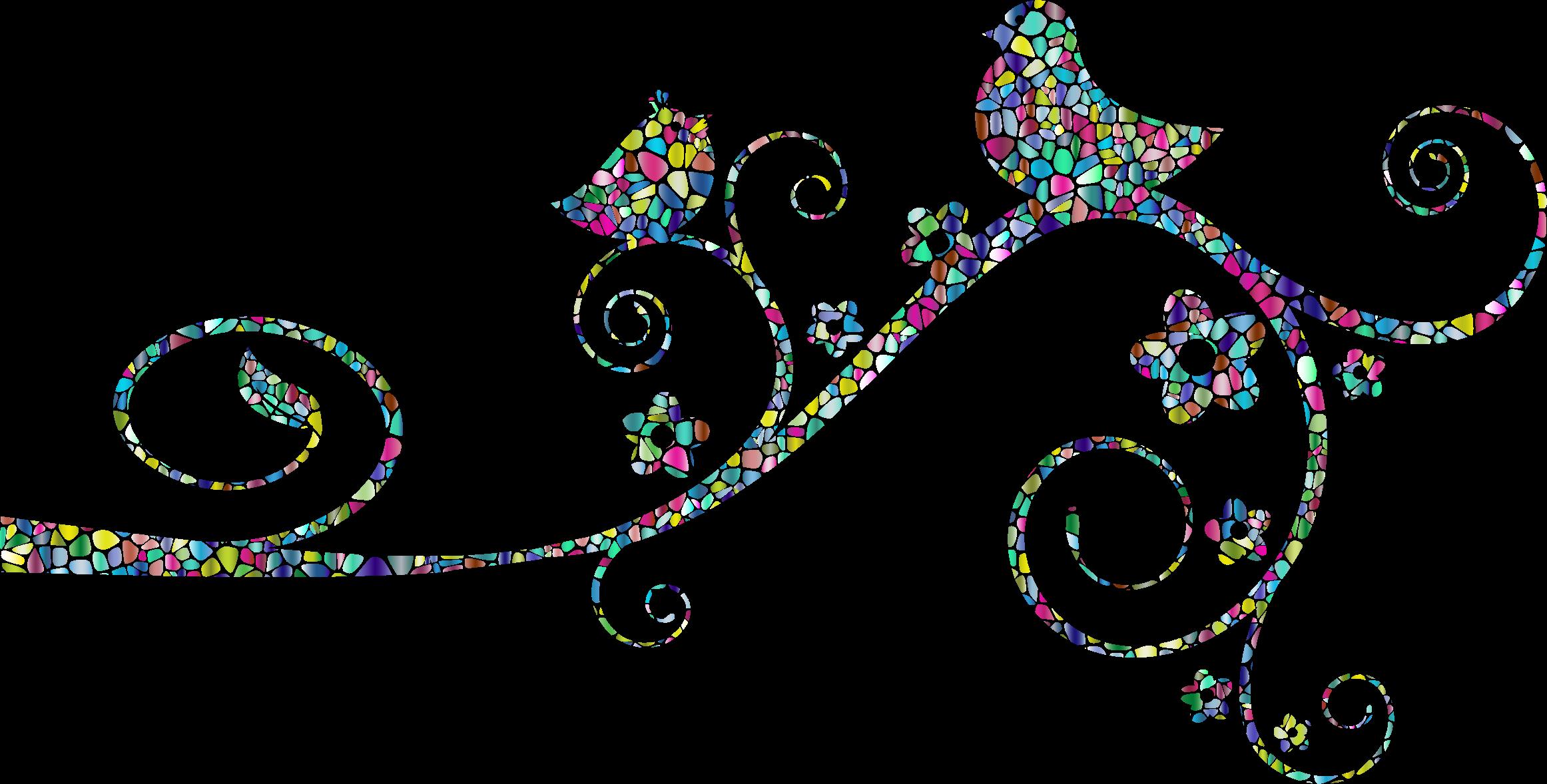 Polyprismatic tiles birds no. Flourish clipart file