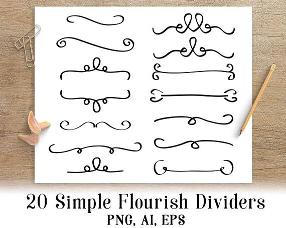simple flourish dividers. Reflection clipart divider