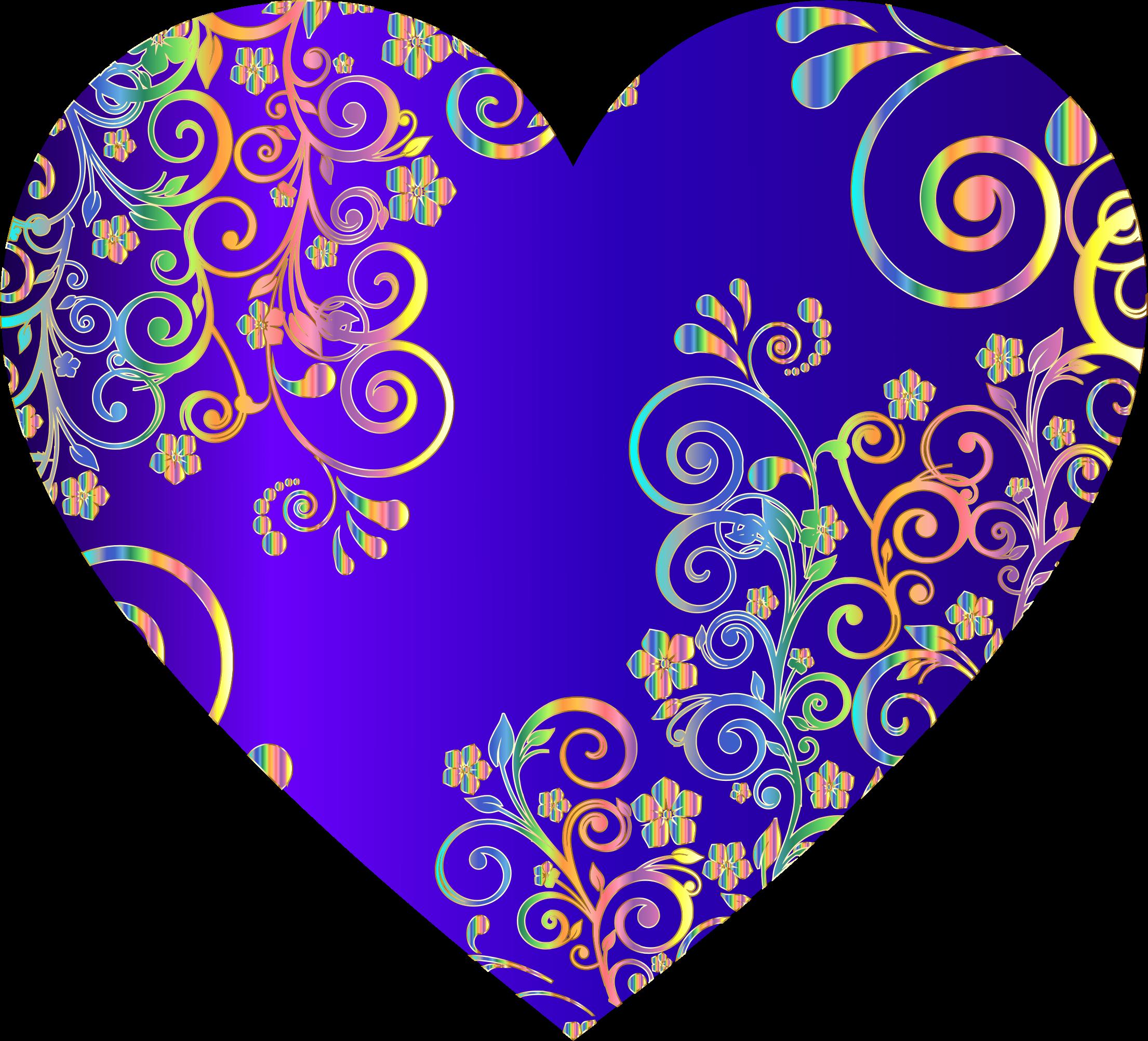 Prismatic floral flourish big. Flourishes clipart heart