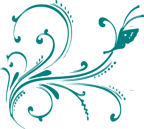 Flourishes clipart logo. Teal flourish with butterfly