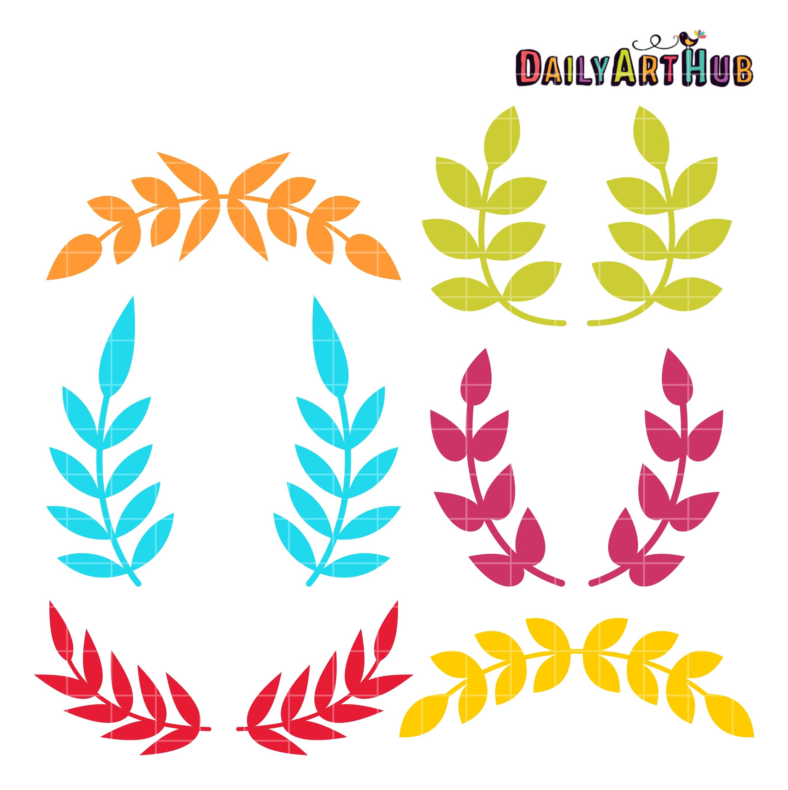 Flourishes clipart side. Leaf clip art set