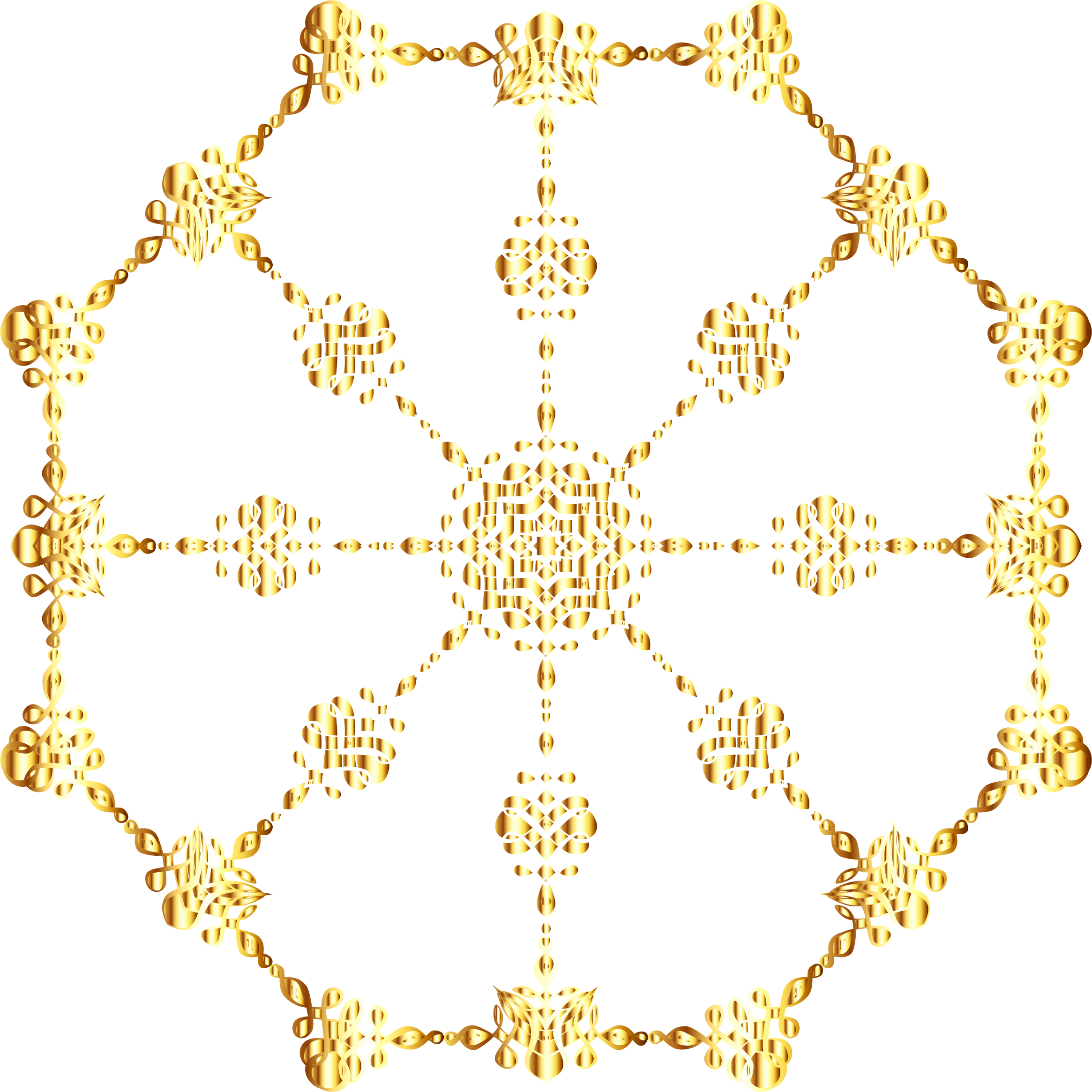 Gold abstract art ornament. Flourish clipart orange line
