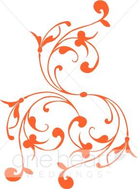 Spiral color variations . Flourish clipart orange line