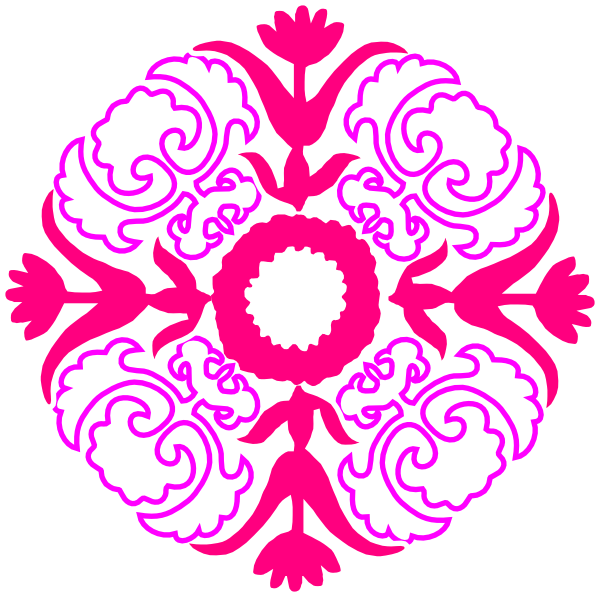 Flourish clipart red damask. Pink orange clip art
