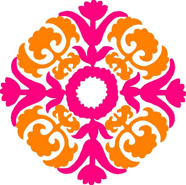 Pink orange clip art. Flourish clipart red damask