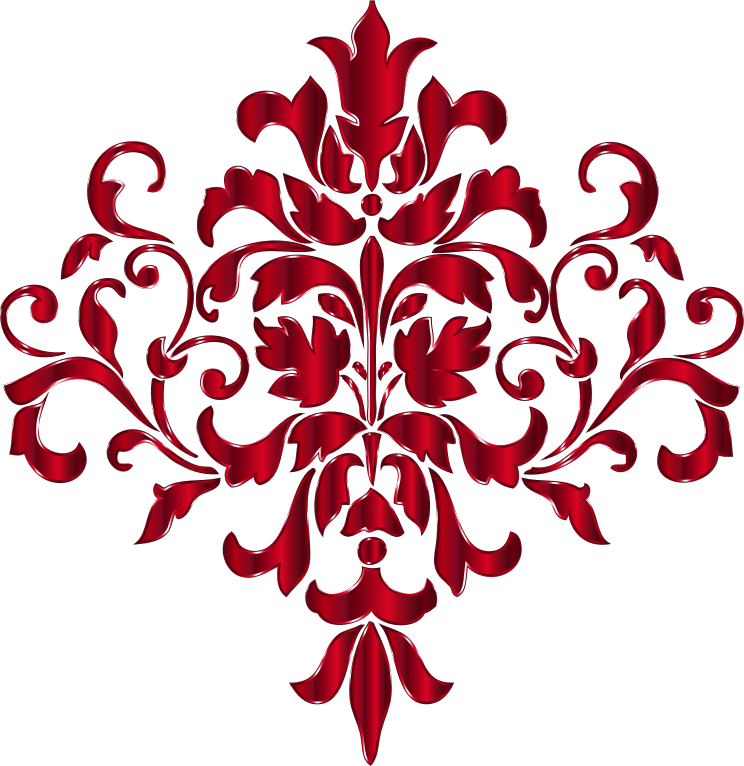 Flourish clipart red damask. Crimson design no background