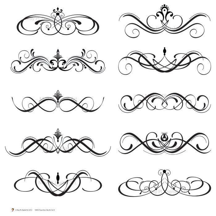 Digital clip art swirls. Flourish clipart scroll