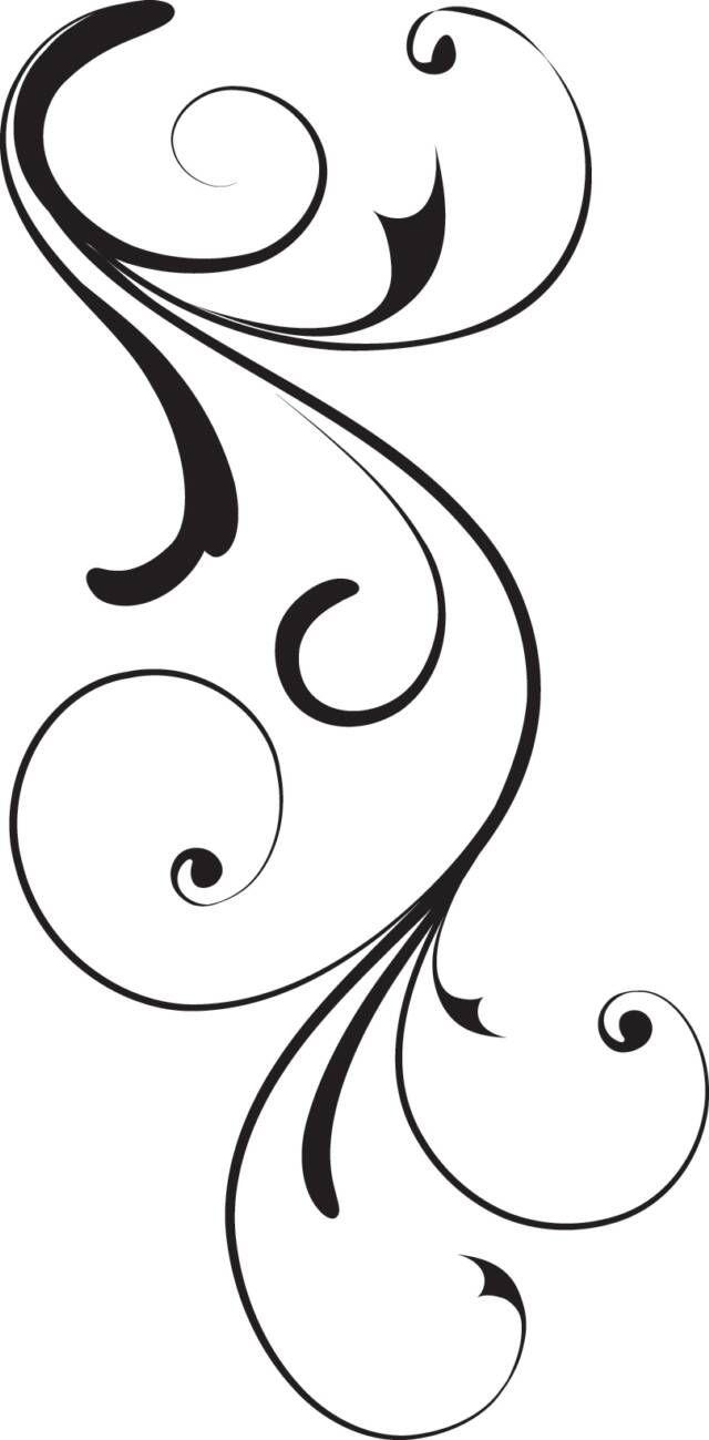 Black swirl op x. Flourish clipart side