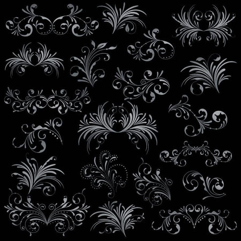Flourish clipart silver flower. Swirl flourishes png commercial