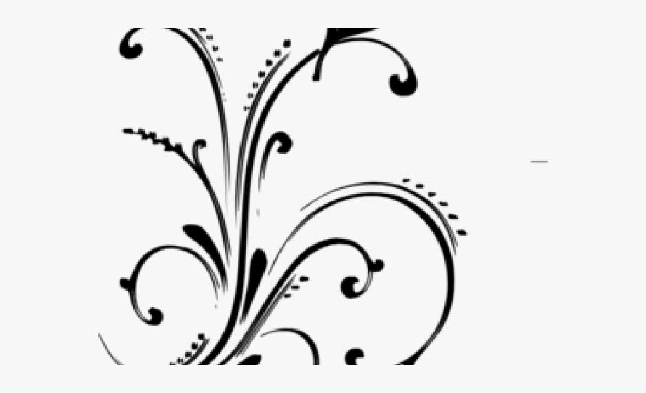 Flowers and butterflies black. Flourish clipart silver flower