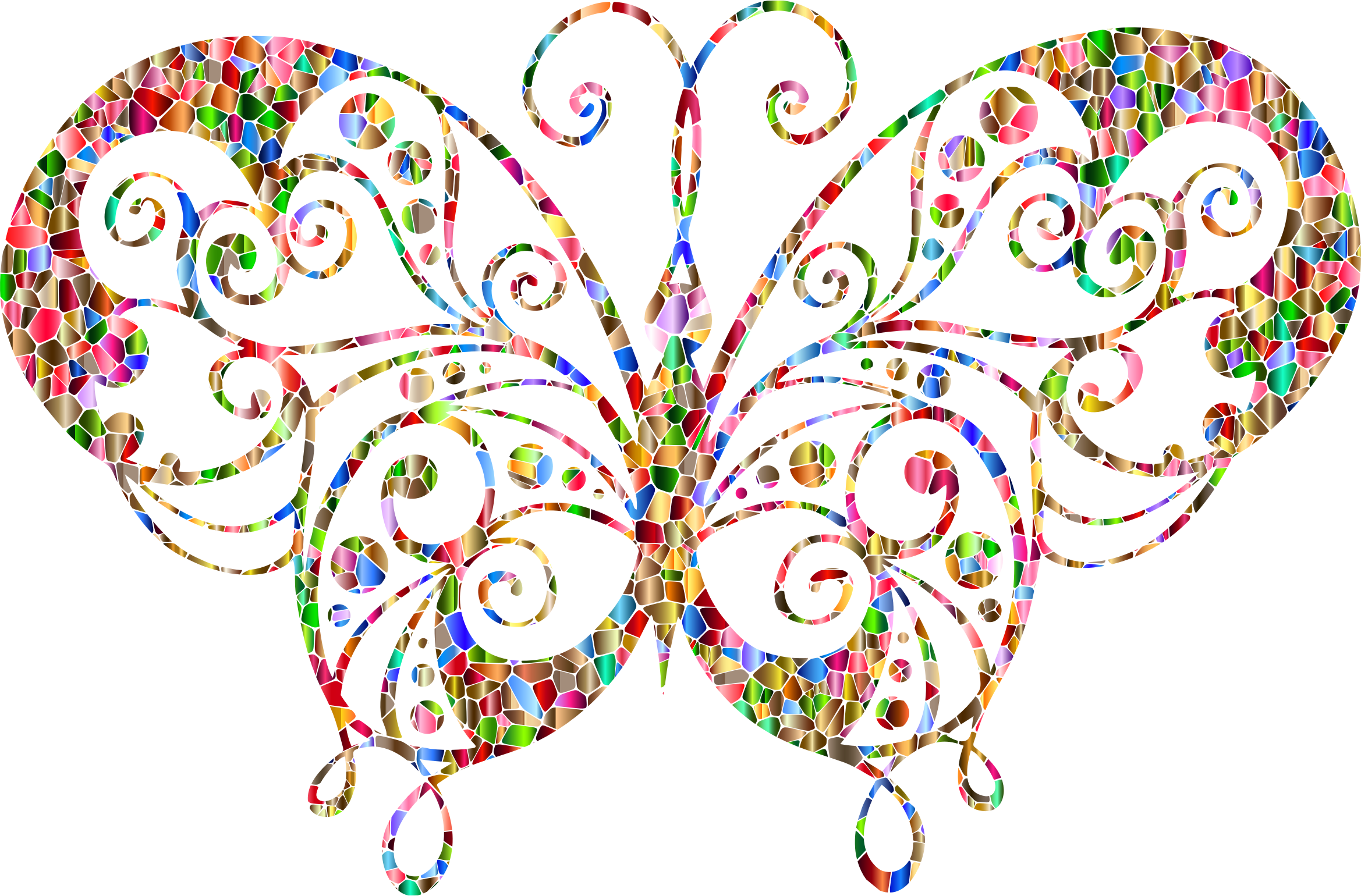 Flourish clipart small. Chromatic tiled butterfly silhouette