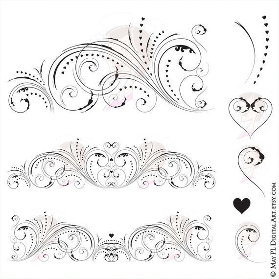 Floral swirl clip art. Flourish clipart swirlclip
