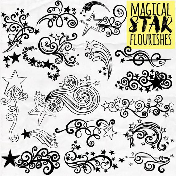 Flourishes clipart design line. Star whimsical swirly flourish