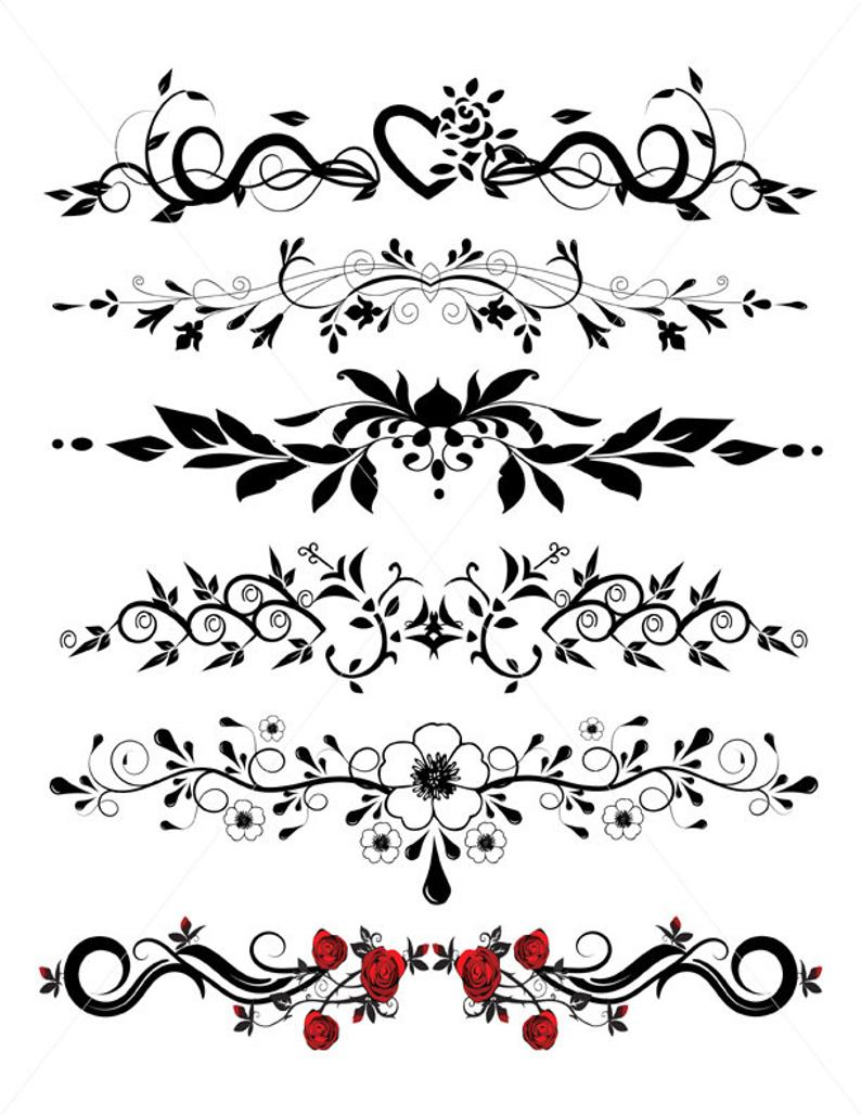 Divider lines graphics pdf. Flourish clipart underlines