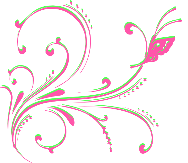 Flourishes clipart underlines. Pink and green clip