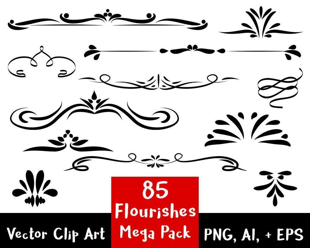 Flourishes clipart vector clipart. Flourish mega pack
