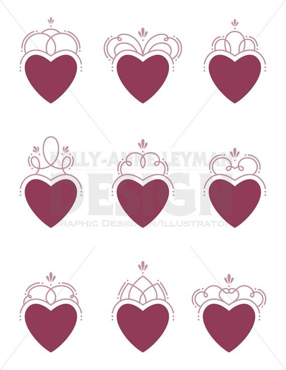 Swirl hearts label frame. Flourishes clipart heart