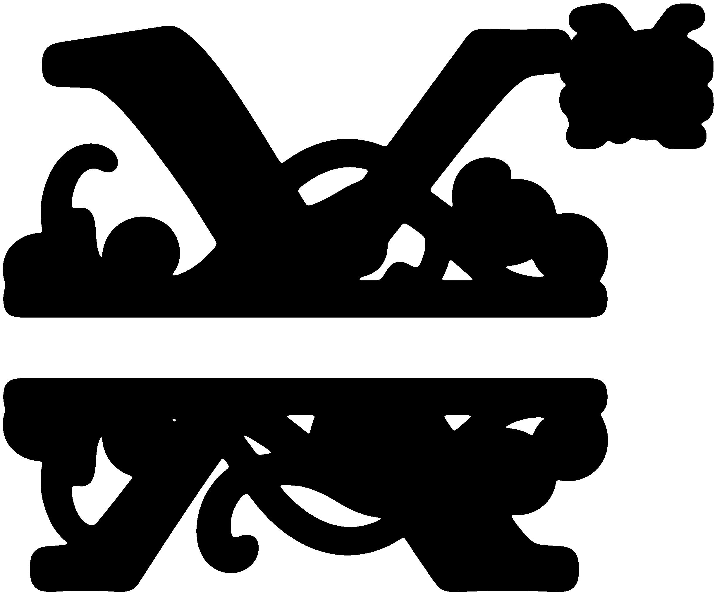 Flourished split x snapdragon. Kitchen clipart monogram