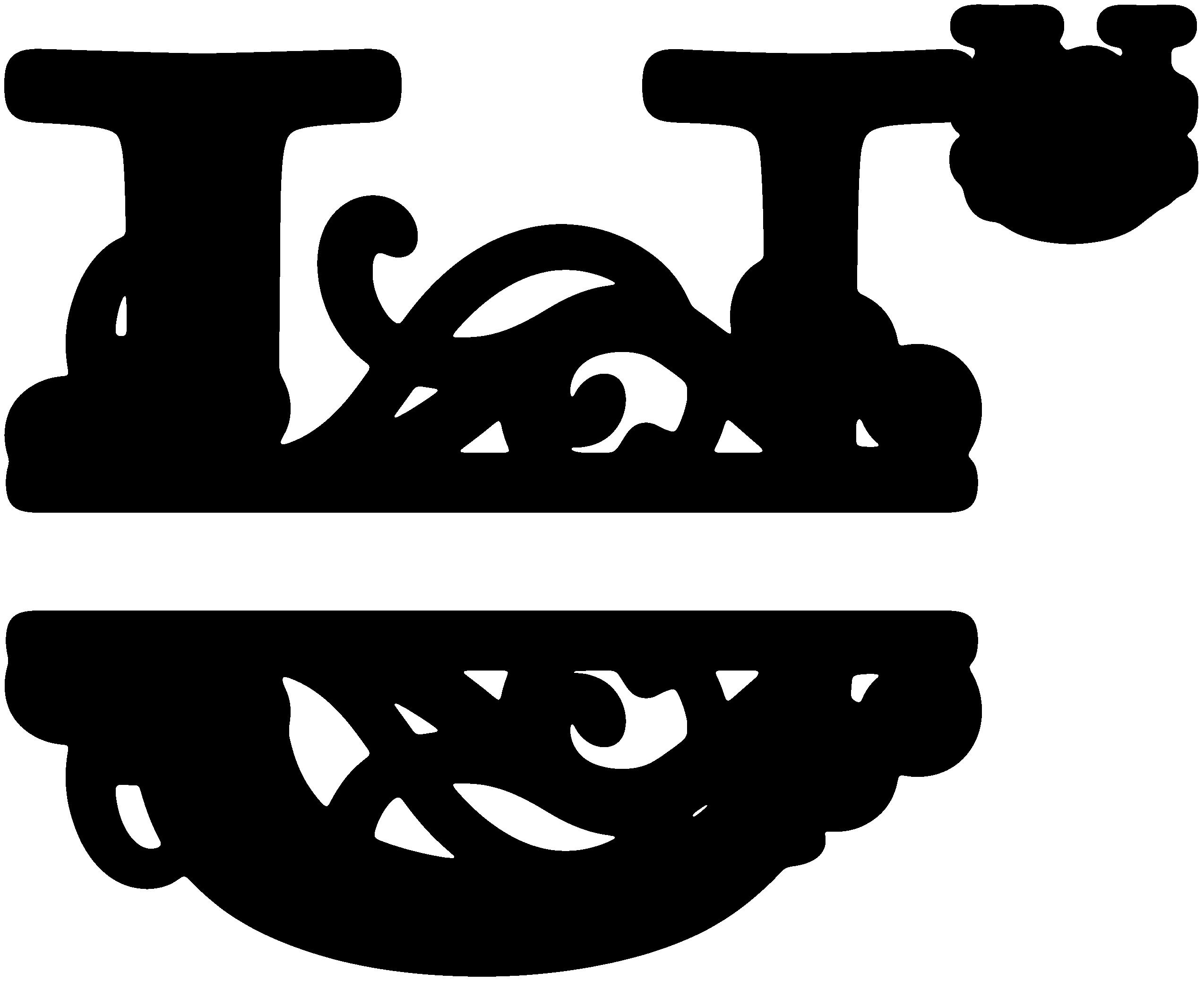 Kitchen clipart monogram. Flourished split u snapdragon