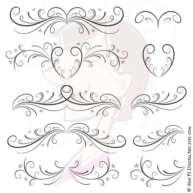 Flourishes clipart page. Wedding vintage style flourish