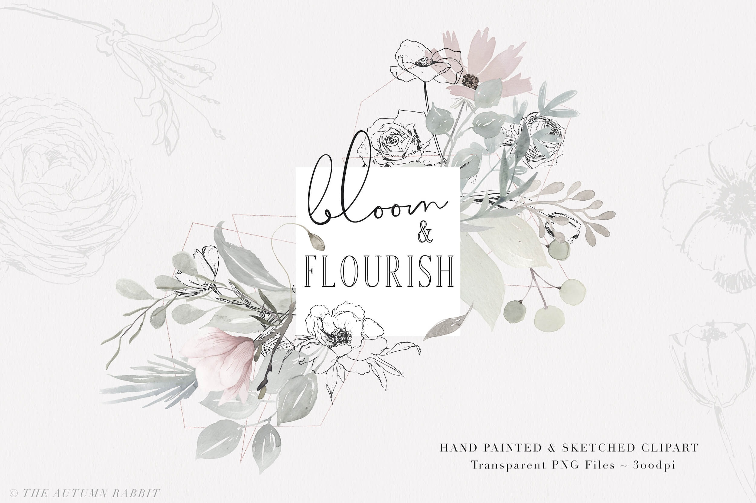 Flourishes clipart vector clipart. Bloom flourish watercolor set