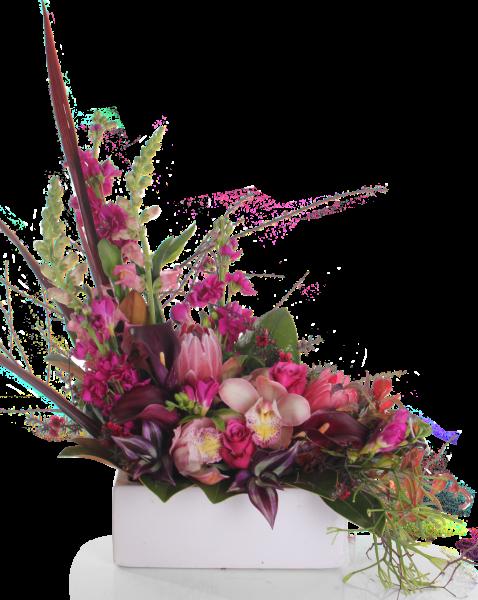 Modern ceramic trough amys. Flower arrangement png