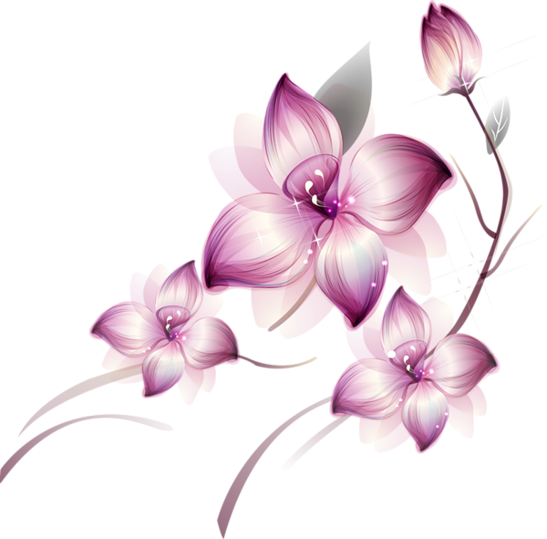 Flower art png. Res purple flowers by
