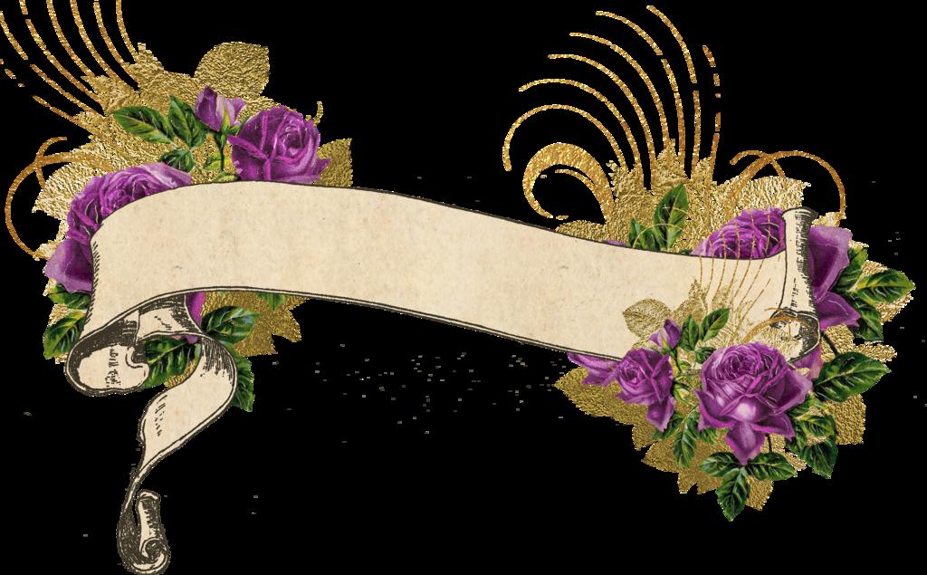 Purple and gold vintage. Flower banner png