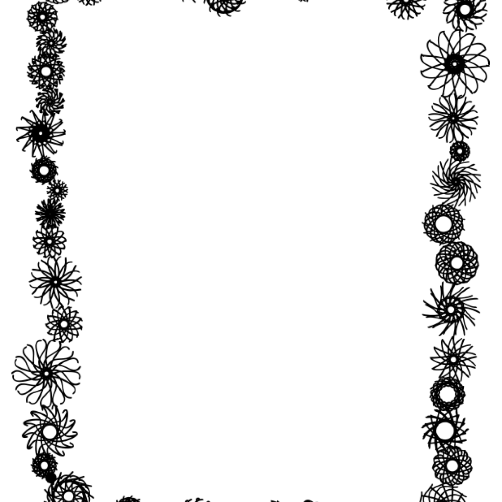 Flower border black and white png. Library techflourish collections clipart