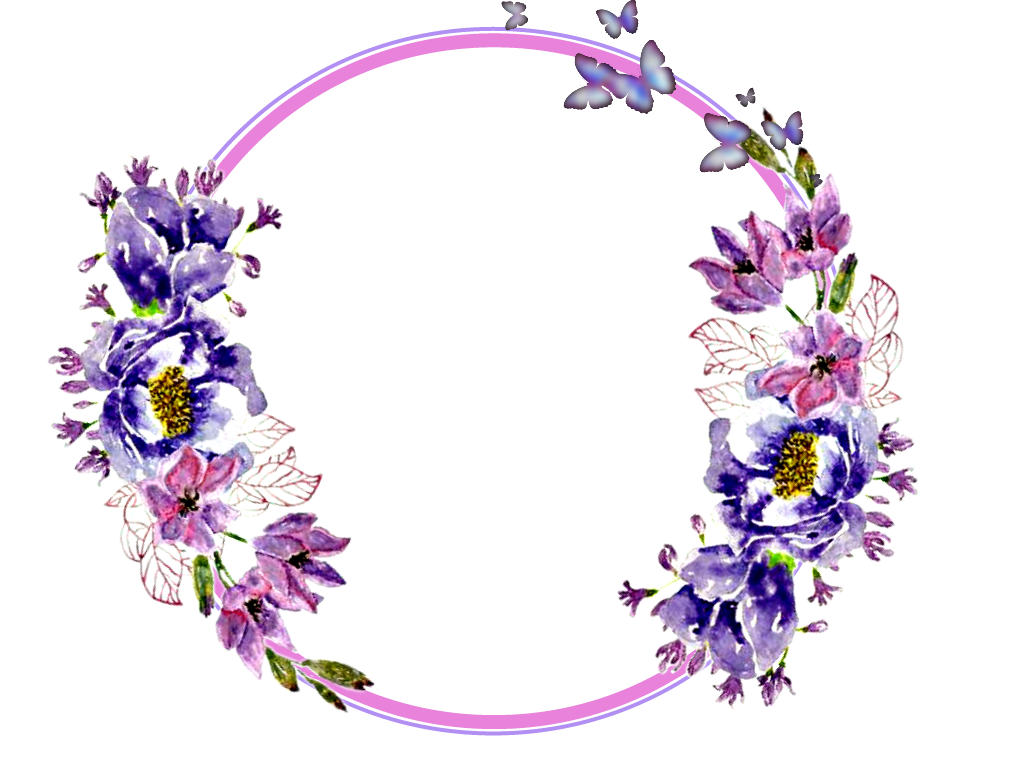 Flowers stickers garland wreaths. Flower circle png