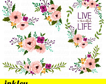 Flower clipart. Etsy pink clip art