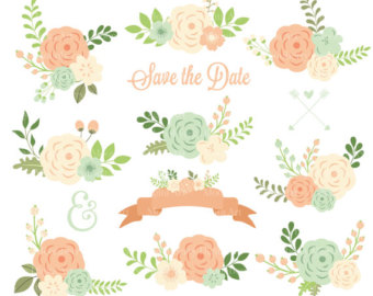 Etsy floral wedding flowers. Flower clipart