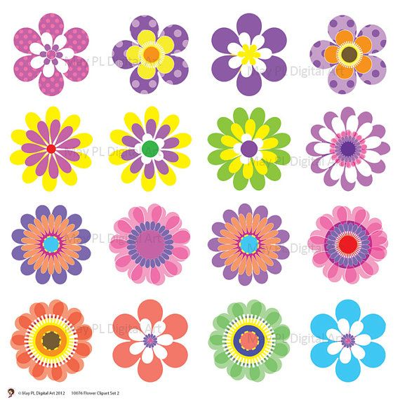 Digital spring flowers clip. Flower clipart