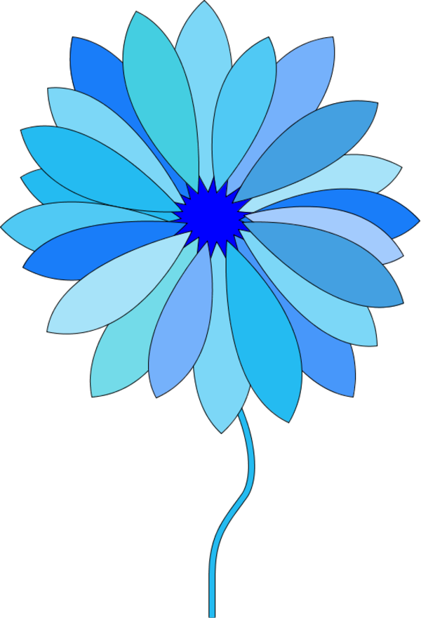 Flower clipart animated. Blue cute cartoon images