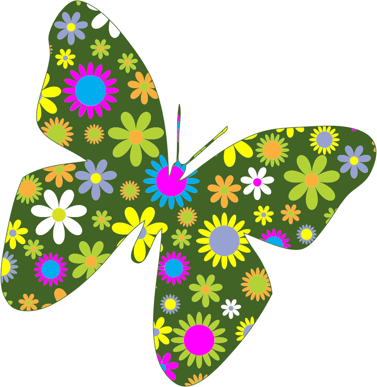 Retro floral medium image. Flower clipart butterfly