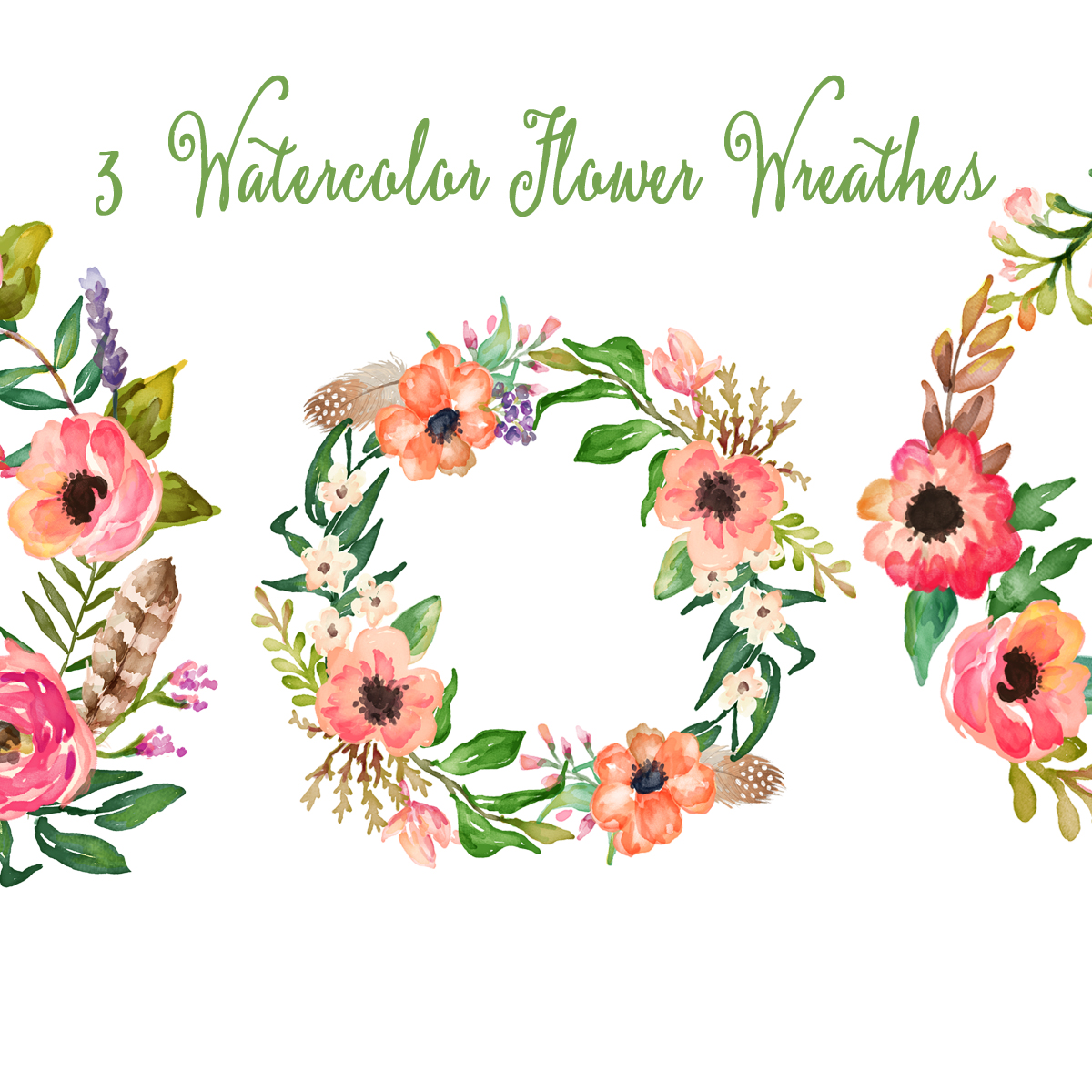 Watercolor hand painted floral. Flowers clipart card