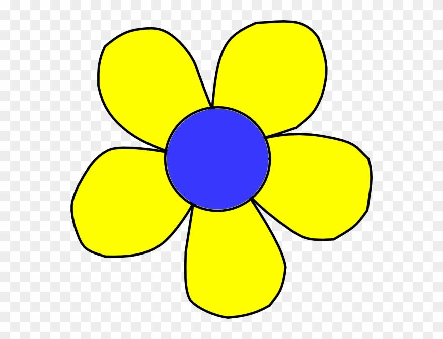 Blue head yellow and. Flower clipart cartoon