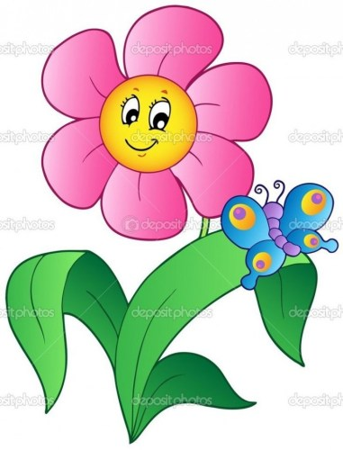 Flower clipart cartoon. Pink pencil and in