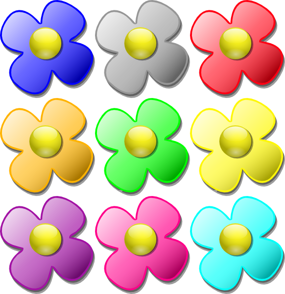 Colored Flowers Clip Art at Clker