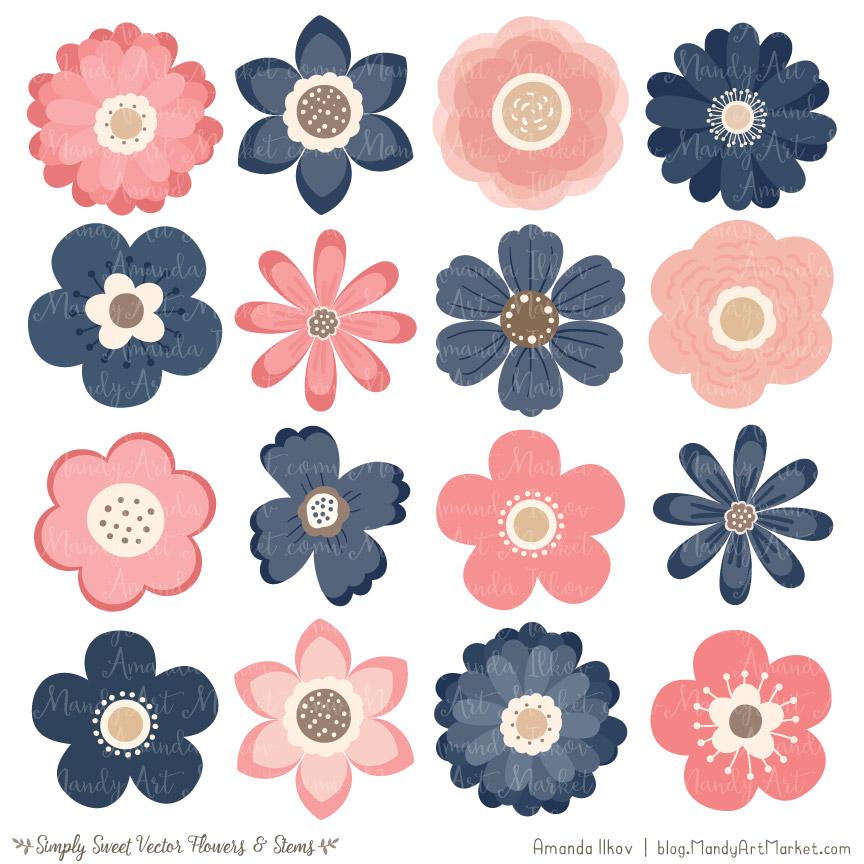 Navy blush flower vectors. Flowers clipart cute